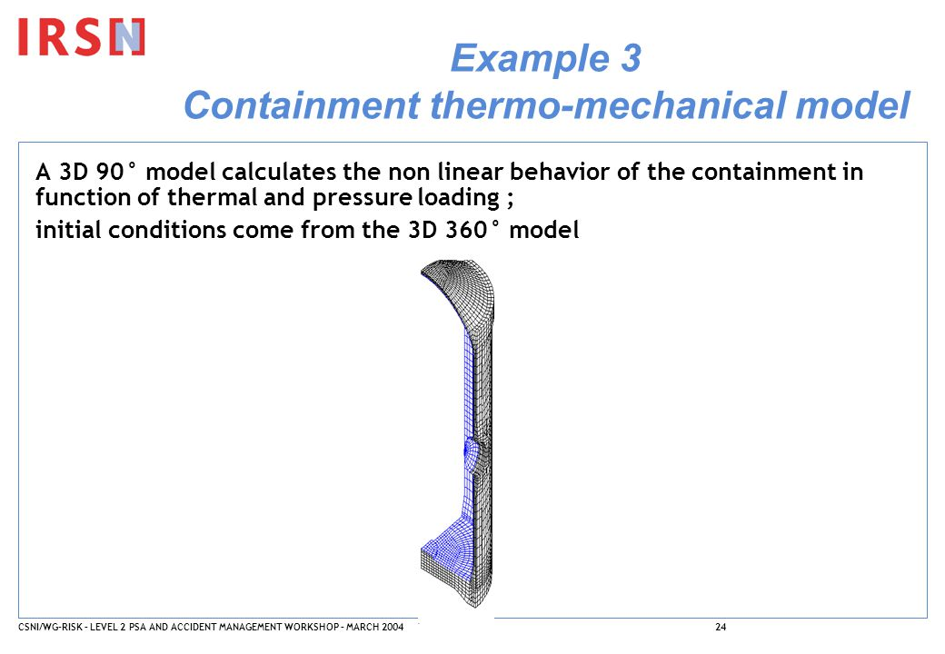CSNI/WG-RISK – LEVEL 2 PSA AND ACCIDENT MANAGEMENT WORKSHOP – MARCH 200424 Example 3 Containment thermo-mechanical model A 3D 90° model calculates the non linear behavior of the containment in function of thermal and pressure loading ; initial conditions come from the 3D 360° model