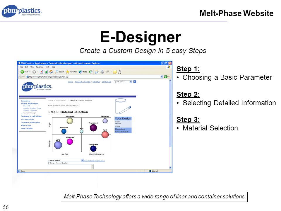 56 E-Designer Melt-Phase Website Create a Custom Design in 5 easy Steps Melt-Phase Technology offers a wide range of liner and container solutions Step 1: Choosing a Basic Parameter Step 2: Selecting Detailed Information Step 3: Material Selection