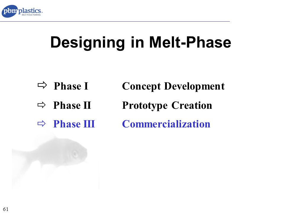 61 Designing in Melt-Phase  Phase IConcept Development  Phase IIPrototype Creation  Phase IIICommercialization