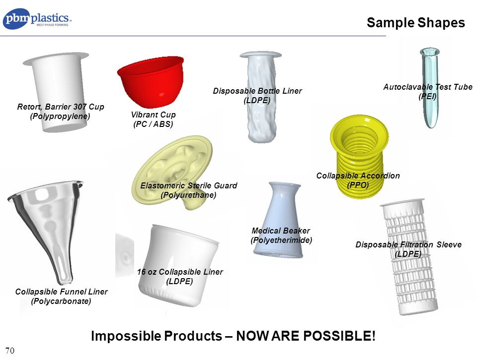 70 Sample Shapes Collapsible Funnel Liner (Polycarbonate) Elastomeric Sterile Guard (Polyurethane) Retort, Barrier 307 Cup (Polypropylene) Medical Beaker (Polyetherimide) Collapsible Accordion (PPO) Vibrant Cup (PC / ABS) Autoclavable Test Tube (PEI) Disposable Bottle Liner (LDPE) 16 oz Collapsible Liner (LDPE) Disposable Filtration Sleeve (LDPE) Impossible Products – NOW ARE POSSIBLE!