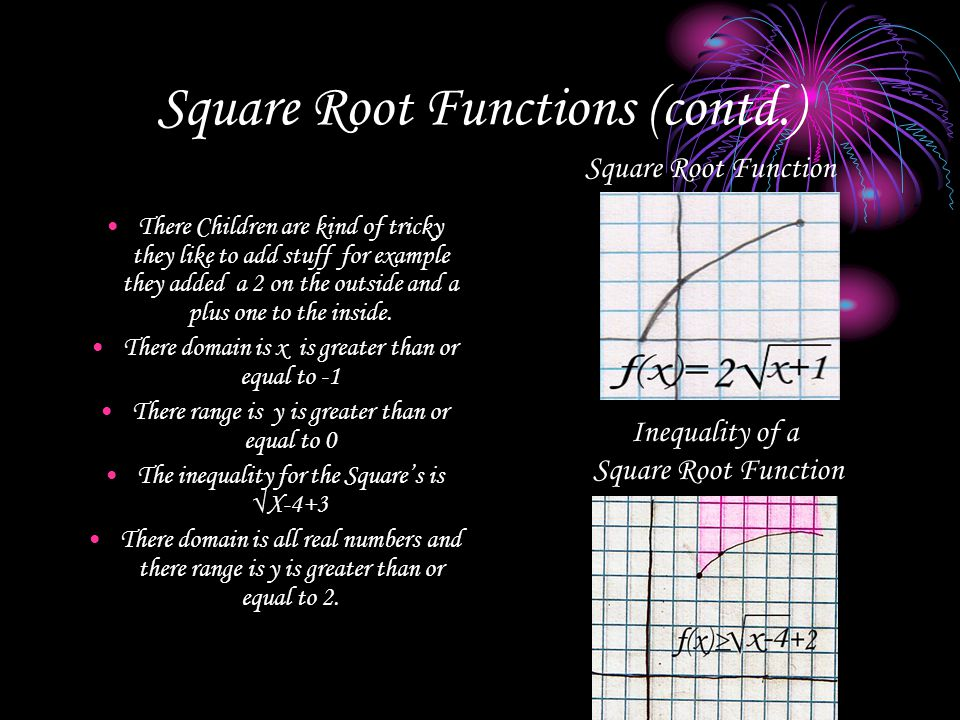 Square Root Functions (contd.) There Children are kind of tricky they like to add stuff for example they added a 2 on the outside and a plus one to th