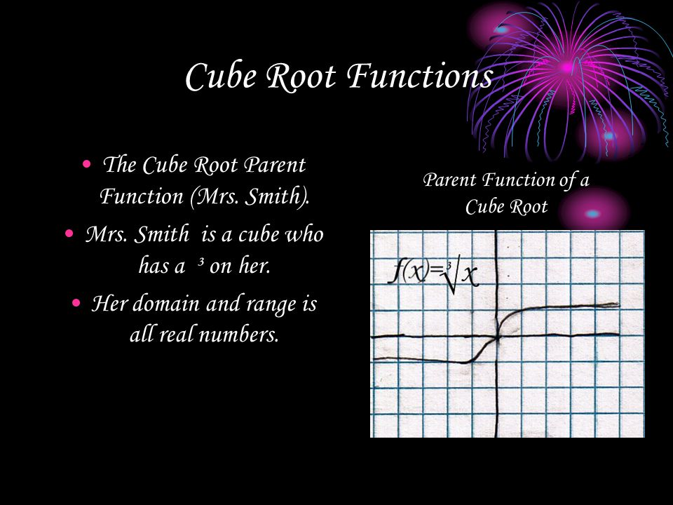 Cube Root Functions The Cube Root Parent Function (Mrs. Smith). Mrs. Smith is a cube who has a ³ on her. Her domain and range is all real numbers. Par