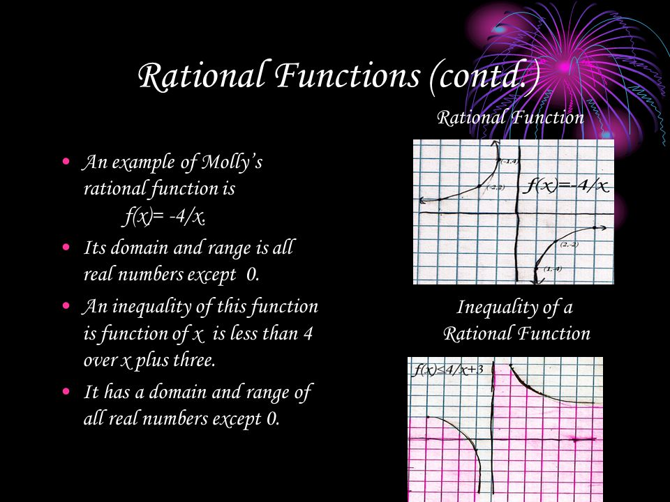 Rational Functions (contd.) An example of Molly's rational function is f(x)= -4/x. Its domain and range is all real numbers except 0. An inequality of
