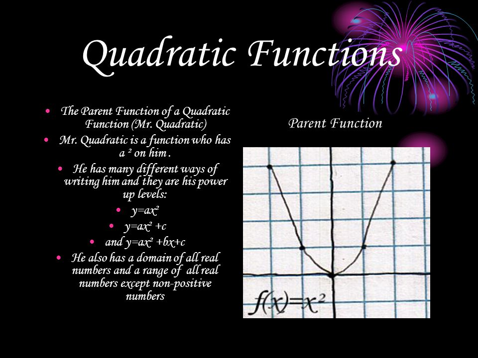 Quadratic Functions The Parent Function of a Quadratic Function (Mr.