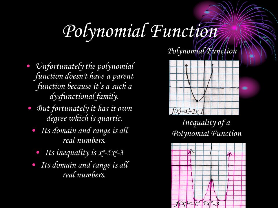 Polynomial Function Unfortunately the polynomial function doesn't have a parent function because it's a such a dysfunctional family. But fortunately i