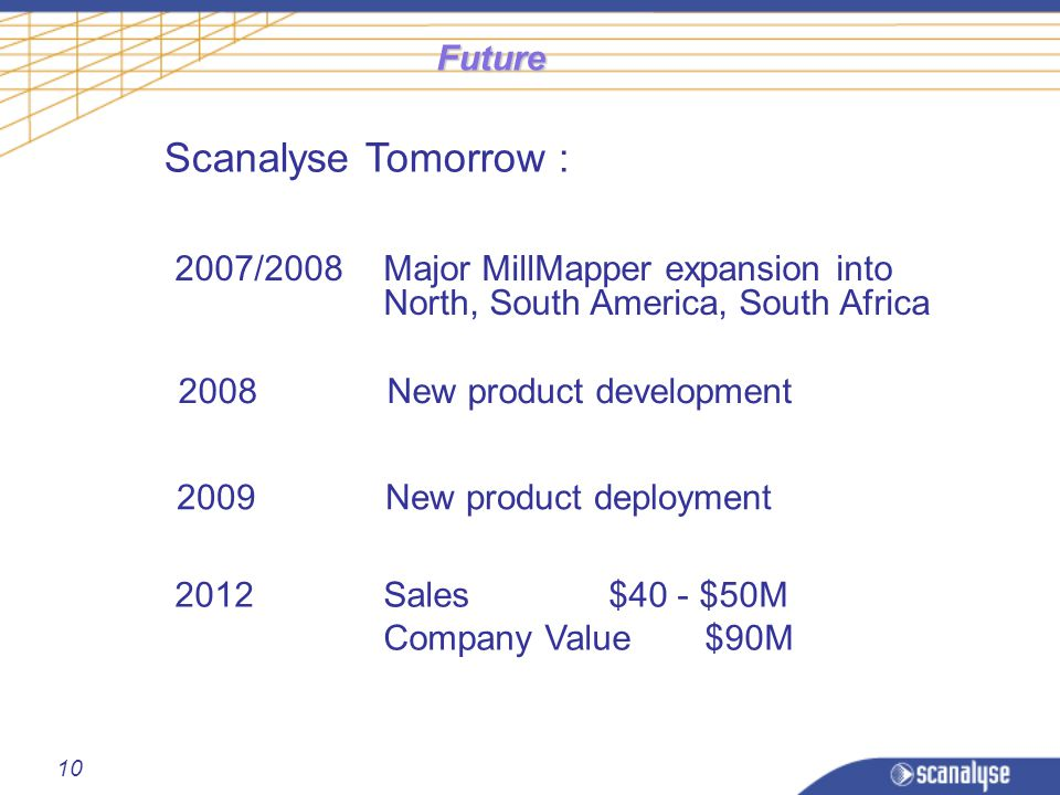 10 Future Scanalyse Tomorrow : 2007/2008Major MillMapper expansion into North, South America, South Africa 2008New product development 2009New product deployment 2012Sales $40 - $50M Company Value$90M
