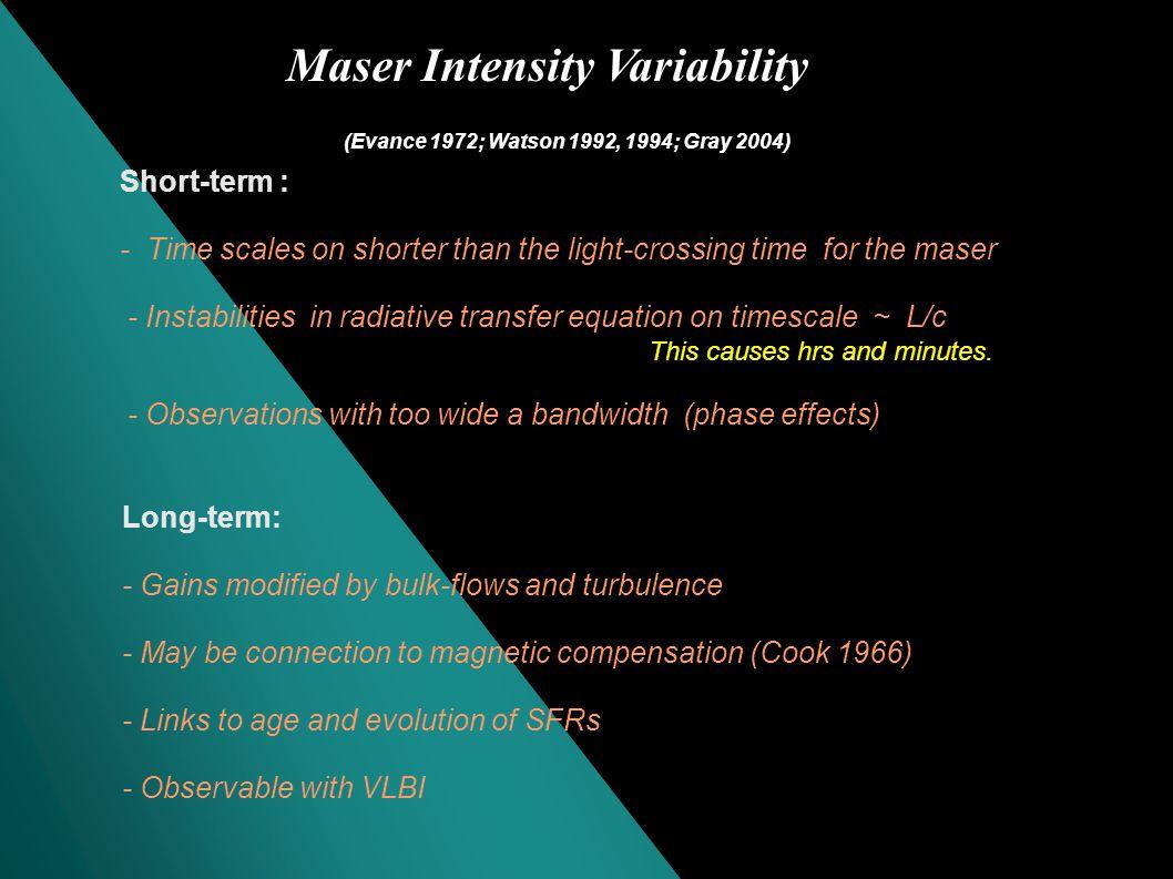 Maser Intensity variability Single-dish or VLBI monitoringof the masers, for example, - Circinus (Maccllum et al.
