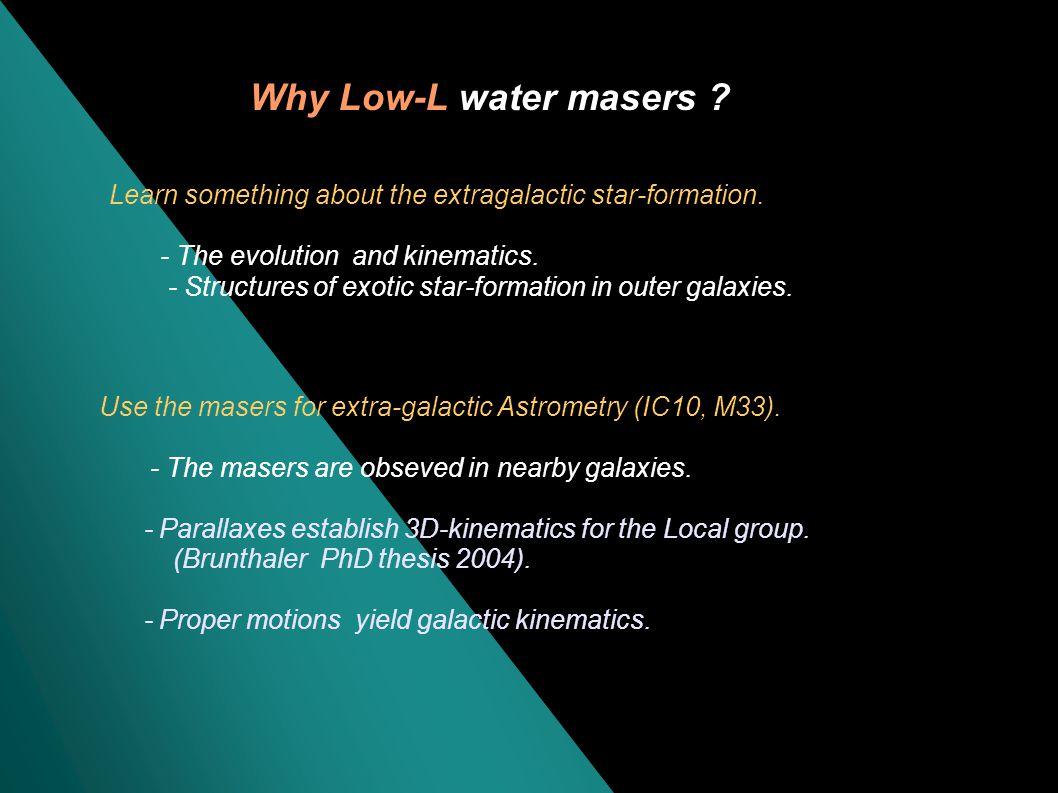 High-luminosity (L H2O > ~10 Lsun)... ca. 40 AGNs NGC4258, NGC3079, NGC4945, Circinus,......