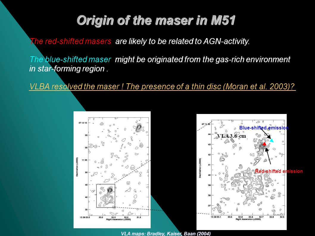 Red-shifted maser: 0.1 (~ 5pc ) north the radio (3.6-cm) nucleus -Confirmed the results in Hagi, Henkel et al.