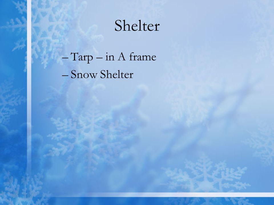 Shelter –Tarp – in A frame –Snow Shelter