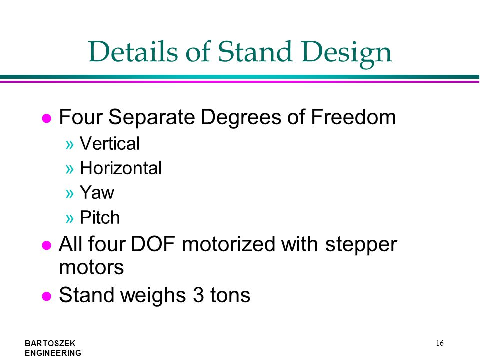 BARTOSZEK ENGINEERING 16 Details of Stand Design l Four Separate Degrees of Freedom »Vertical »Horizontal »Yaw »Pitch l All four DOF motorized with stepper motors l Stand weighs 3 tons