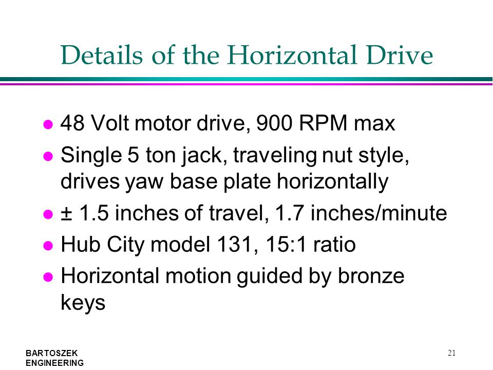 BARTOSZEK ENGINEERING 21 Details of the Horizontal Drive l 48 Volt motor drive, 900 RPM max l Single 5 ton jack, traveling nut style, drives yaw base plate horizontally l ± 1.5 inches of travel, 1.7 inches/minute l Hub City model 131, 15:1 ratio l Horizontal motion guided by bronze keys