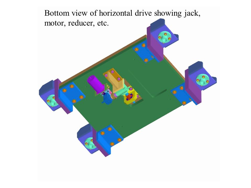 Bottom view of horizontal drive showing jack, motor, reducer, etc.