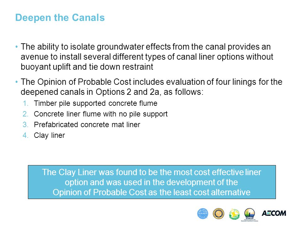 Deepen the Canals The ability to isolate groundwater effects from the canal provides an avenue to install several different types of canal liner options without buoyant uplift and tie down restraint The Opinion of Probable Cost includes evaluation of four linings for the deepened canals in Options 2 and 2a, as follows: 1.Timber pile supported concrete flume 2.Concrete liner flume with no pile support 3.Prefabricated concrete mat liner 4.Clay liner The Clay Liner was found to be the most cost effective liner option and was used in the development of the Opinion of Probable Cost as the least cost alternative