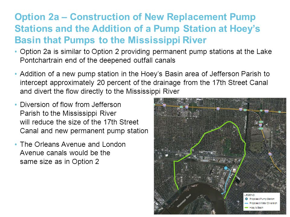 Deepen the Canals AECOM considered alternative methods for deepening the outfall canals to identify a more cost effective method in developing the cost for Options 2 and 2a.