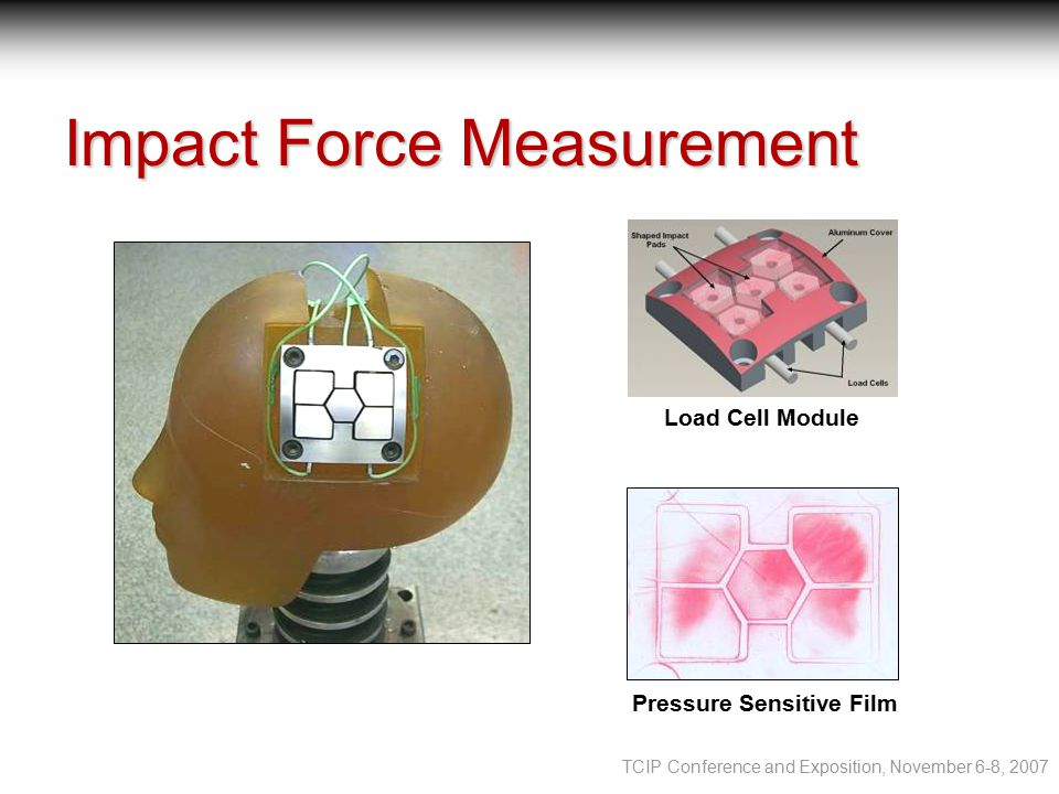 TCIP Conference and Exposition, November 6-8, 2007 Impact Force Measurement Load Cell Module Pressure Sensitive Film