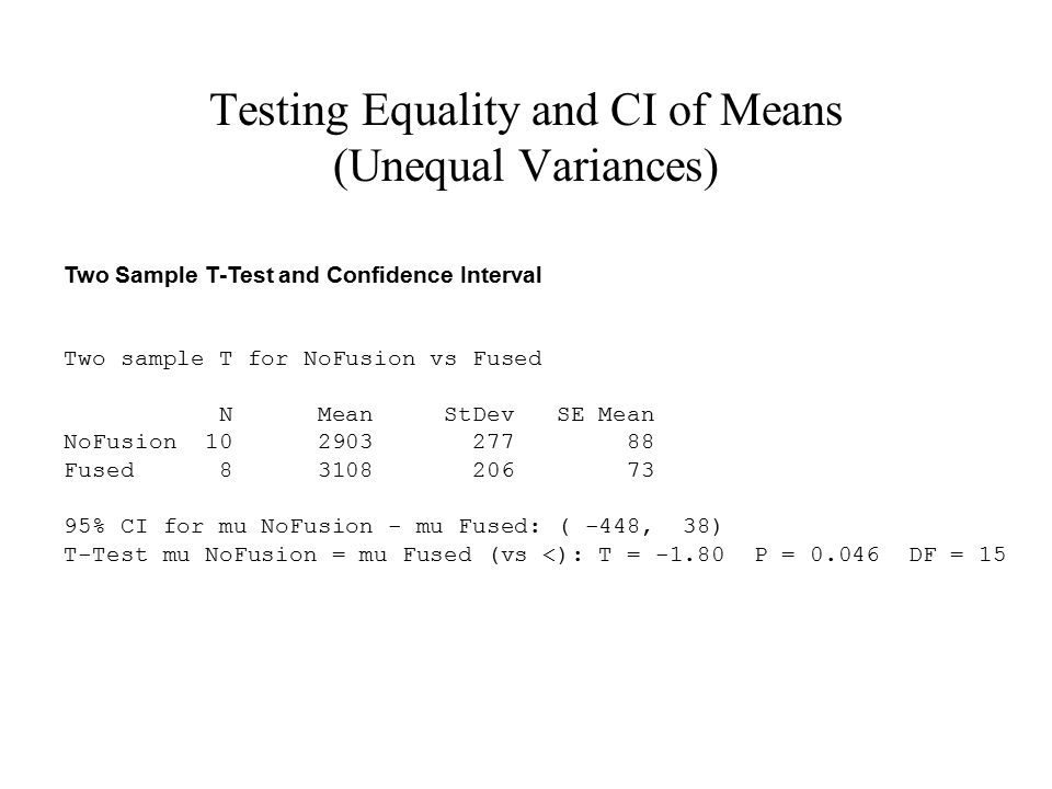 Testing Equality and CI of Means (Unequal Variances) Two Sample T-Test and Confidence Interval Two sample T for NoFusion vs Fused N Mean StDev SE Mean
