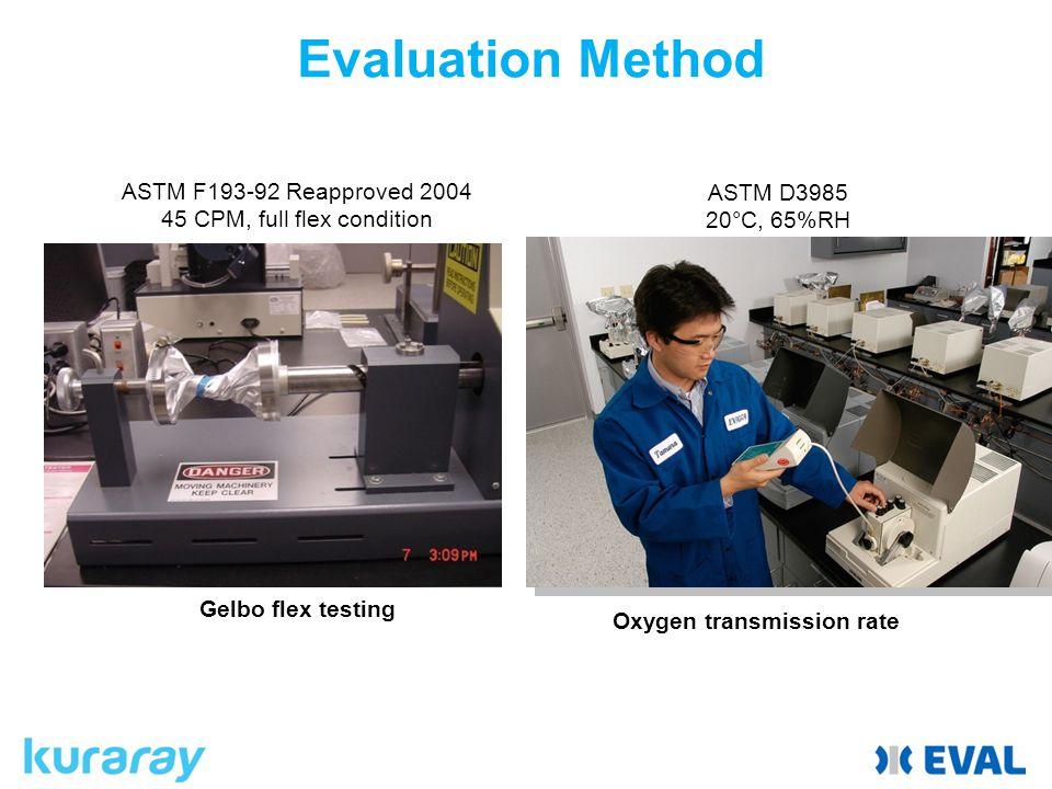 Evaluation Method ASTM F193-92 Reapproved 2004 45 CPM, full flex condition ASTM D3985 20°C, 65%RH Gelbo flex testing Oxygen transmission rate