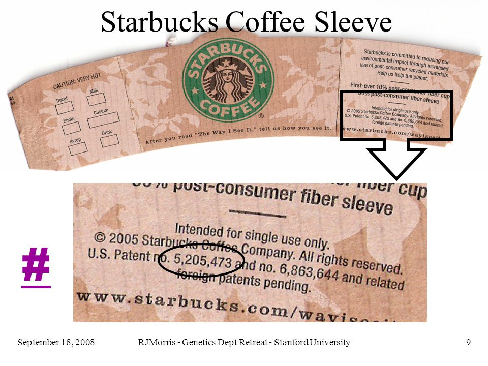 RJMorris - Genetics Dept Retreat - Stanford University10September 18, 2008 The coffee sleeve patent, 5,205,473, has a cover sheet (the top page), a specification: 8 sheets of figures, and text starting at column 1, line 1 and ending at column 4, line 61, and eighteen CLAIMS, from column 4, line 63 to the end.