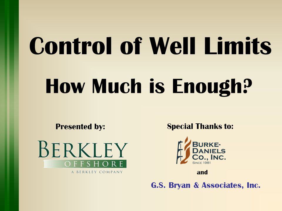 Control of Well Limits How Much is Enough. Presented by : Special Thanks to: G.S.