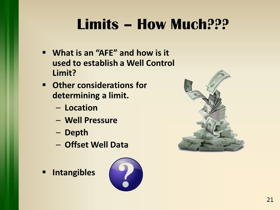  What is an AFE and how is it used to establish a Well Control Limit.