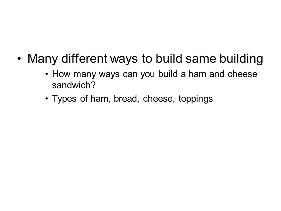 Many different ways to build same building How many ways can you build a ham and cheese sandwich? Types of ham, bread, cheese, toppings