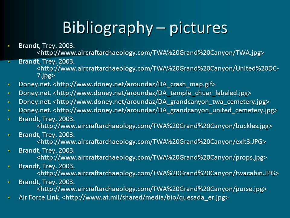 Bibliography – pictures Brandt, Trey. 2003. Brandt, Trey. 2003. Doney.net. Doney.net. Brandt, Trey. 2003. Brandt, Trey. 2003. Air Force Link. Air Forc