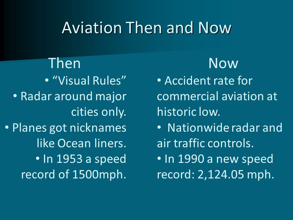 "Aviation Then and Now Then ""Visual Rules"" Radar around major cities only. Planes got nicknames like Ocean liners. In 1953 a speed record of 1500mph. N"