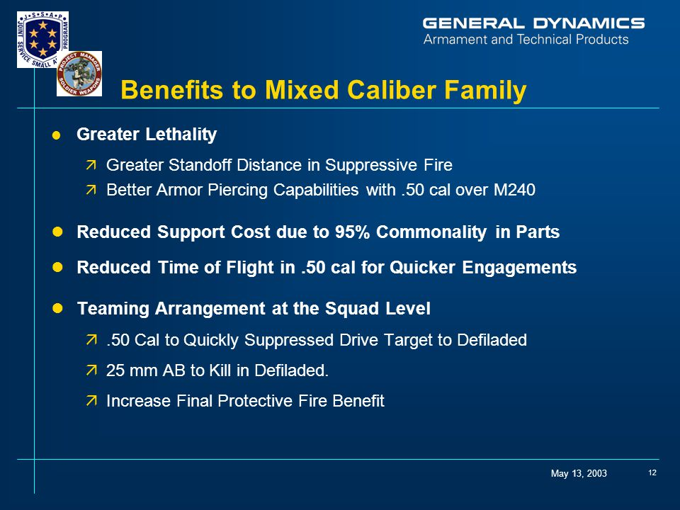 May 13, 2003 12 Benefits to Mixed Caliber Family l Greater Lethality ä Greater Standoff Distance in Suppressive Fire ä Better Armor Piercing Capabilities with.50 cal over M240 lReduced Support Cost due to 95% Commonality in Parts lReduced Time of Flight in.50 cal for Quicker Engagements lTeaming Arrangement at the Squad Level ä.50 Cal to Quickly Suppressed Drive Target to Defiladed ä25 mm AB to Kill in Defiladed.