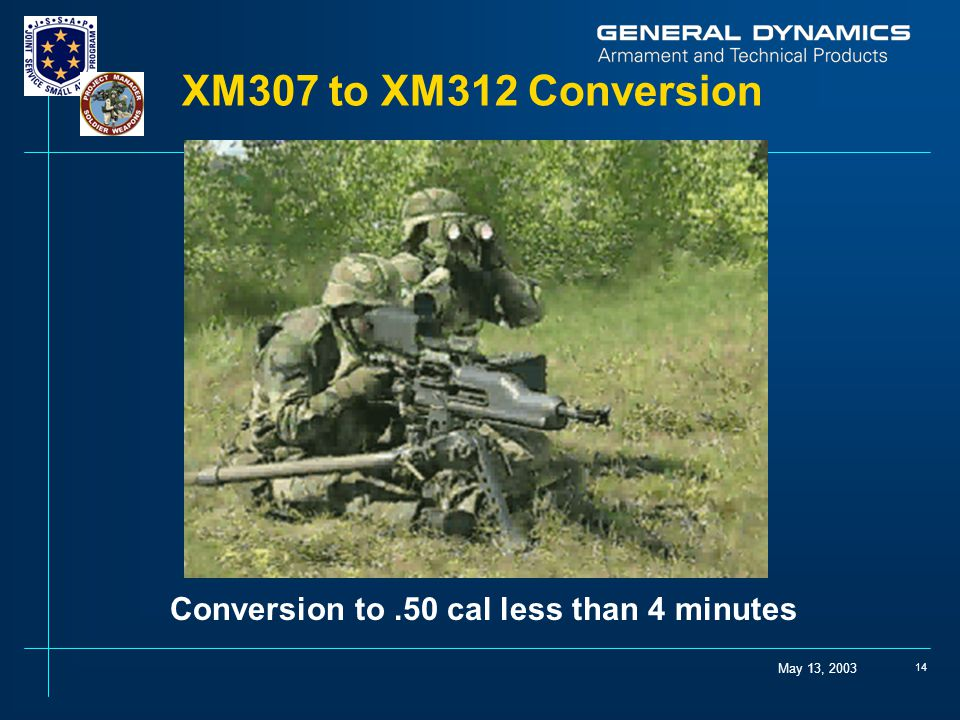 May 13, 2003 14 XM307 to XM312 Conversion Conversion to.50 cal less than 4 minutes