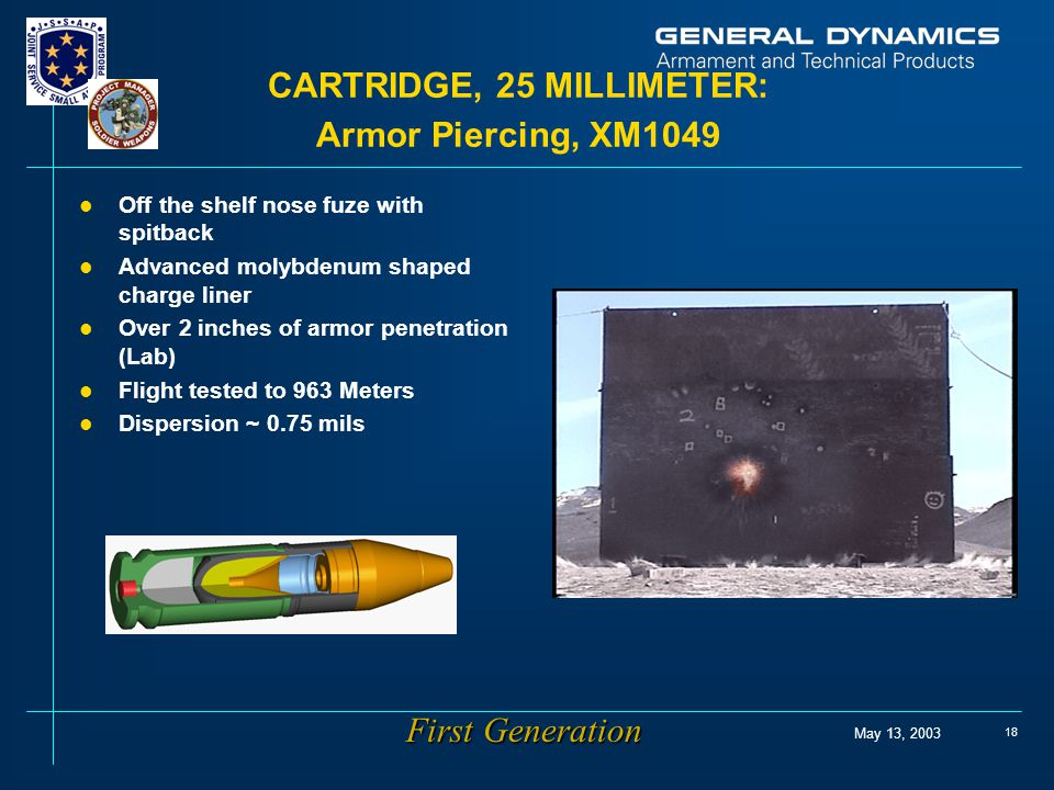 May 13, 2003 18 CARTRIDGE, 25 MILLIMETER: Armor Piercing, XM1049 l Off the shelf nose fuze with spitback l Advanced molybdenum shaped charge liner l O
