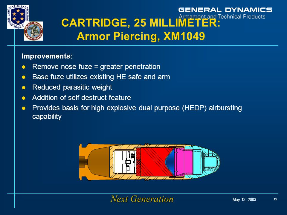 May 13, 2003 19 CARTRIDGE, 25 MILLIMETER: Armor Piercing, XM1049 Improvements: l Remove nose fuze = greater penetration l Base fuze utilizes existing HE safe and arm l Reduced parasitic weight l Addition of self destruct feature l Provides basis for high explosive dual purpose (HEDP) airbursting capability Next Generation