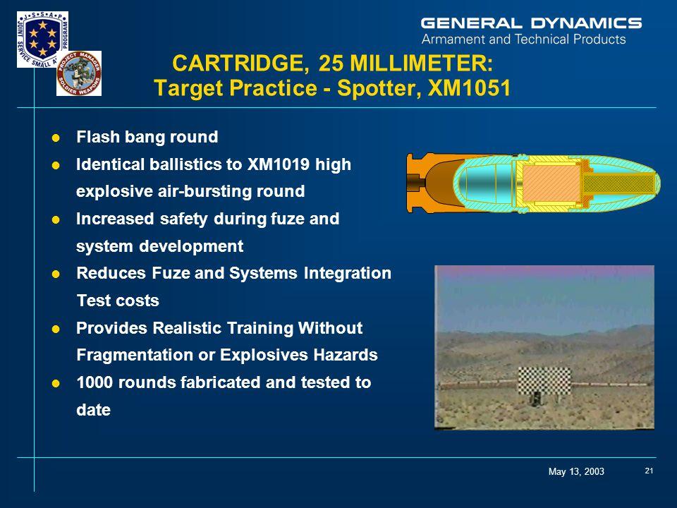 May 13, 2003 21 CARTRIDGE, 25 MILLIMETER: Target Practice - Spotter, XM1051 l Flash bang round l Identical ballistics to XM1019 high explosive air-bur