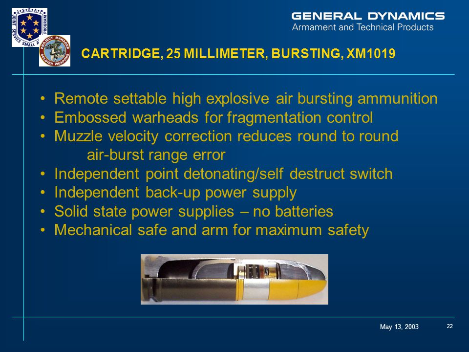 May 13, 2003 22 CARTRIDGE, 25 MILLIMETER, BURSTING, XM1019 Remote settable high explosive air bursting ammunition Embossed warheads for fragmentation control Muzzle velocity correction reduces round to round air-burst range error Independent point detonating/self destruct switch Independent back-up power supply Solid state power supplies – no batteries Mechanical safe and arm for maximum safety