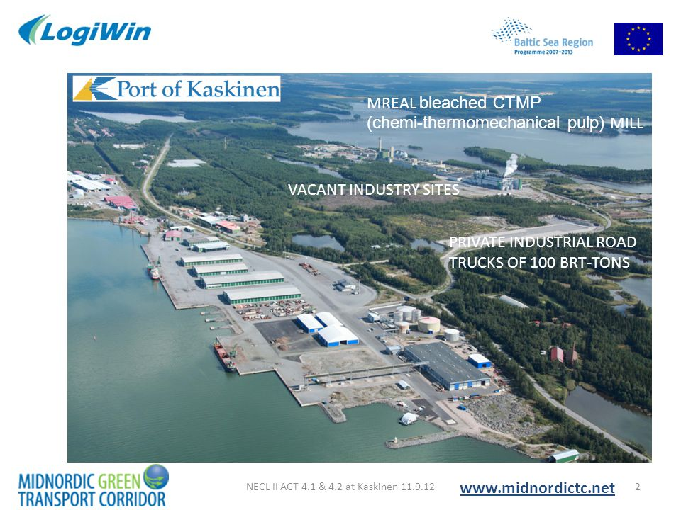 Compared route options for liner ship traffic 23NECL II ACT 4.1 & 4.2 at Kaskinen 11.9.12