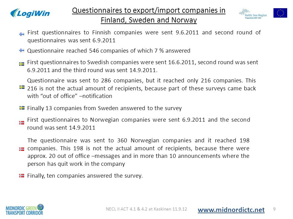 NECL II ACT 4.1 & 4.2 at Kaskinen 11.9.129 Questionnaires to export/import companies in Finland, Sweden and Norway www.midnordictc.net First questionn
