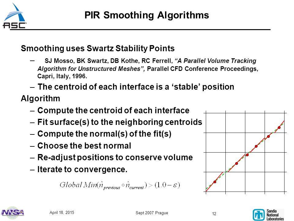 "April 18, 2015 Sept 2007 Prague 12 PIR Smoothing Algorithms Smoothing uses Swartz Stability Points – SJ Mosso, BK Swartz, DB Kothe, RC Ferrell, ""A Par"