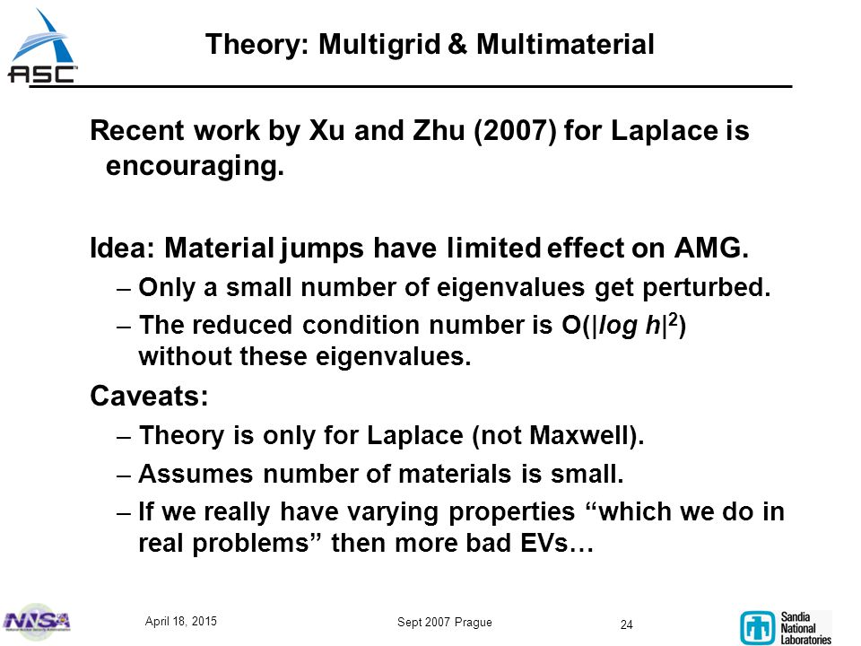 April 18, 2015 Sept 2007 Prague 24 Theory: Multigrid & Multimaterial Recent work by Xu and Zhu (2007) for Laplace is encouraging.
