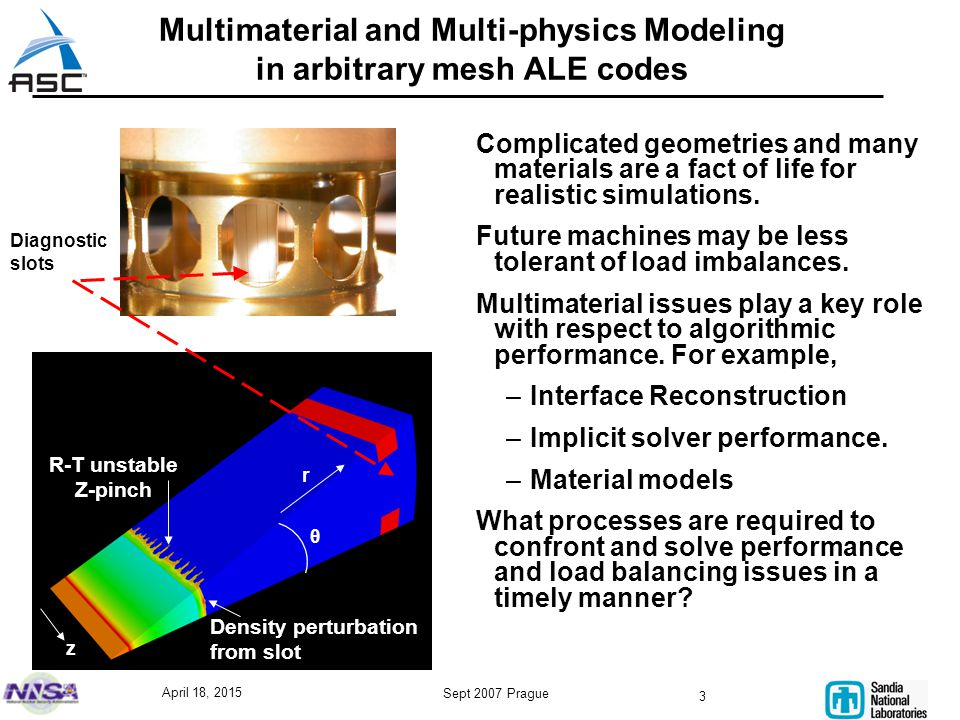 April 18, 2015 Sept 2007 Prague 3 Multimaterial and Multi-physics Modeling in arbitrary mesh ALE codes Complicated geometries and many materials are a