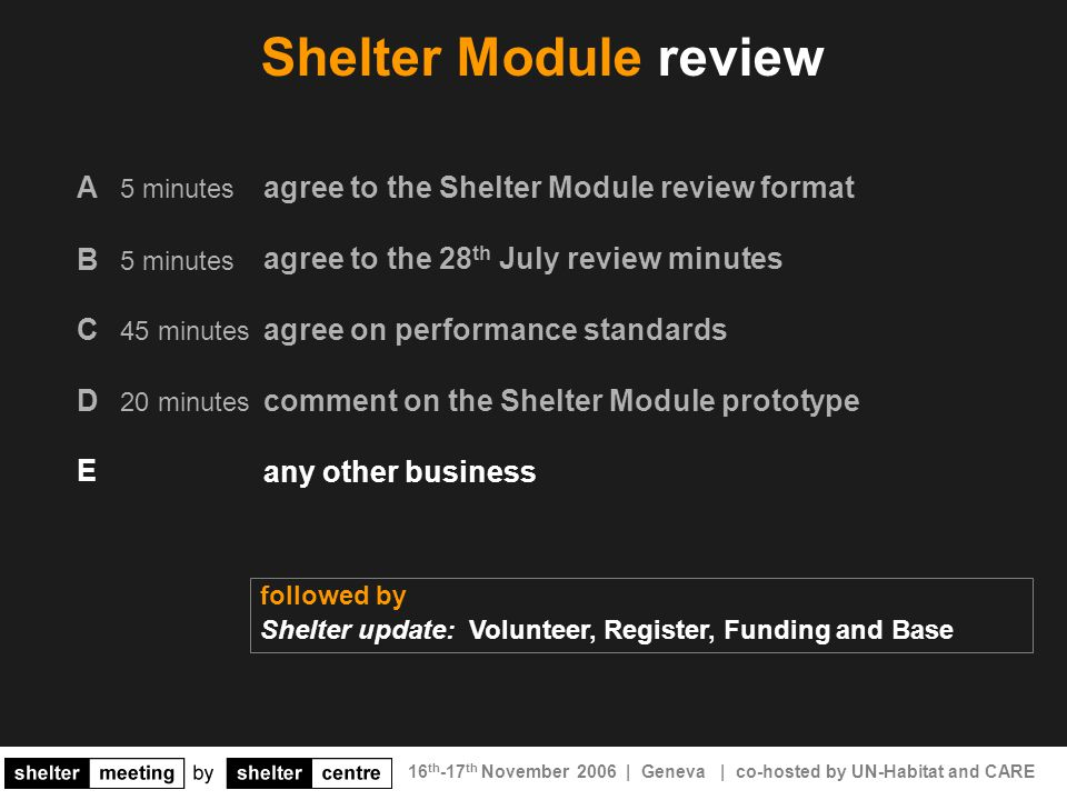 16 th -17 th November 2006 | Geneva | co-hosted by UN-Habitat and CARE agree to the Shelter Module review format agree to the 28 th July review minutes agree on performance standards comment on the Shelter Module prototype any other business Shelter Module review A 5 minutes B 5 minutes C 45 minutes D 20 minutes followed by Shelter update: Volunteer, Register, Funding and Base E