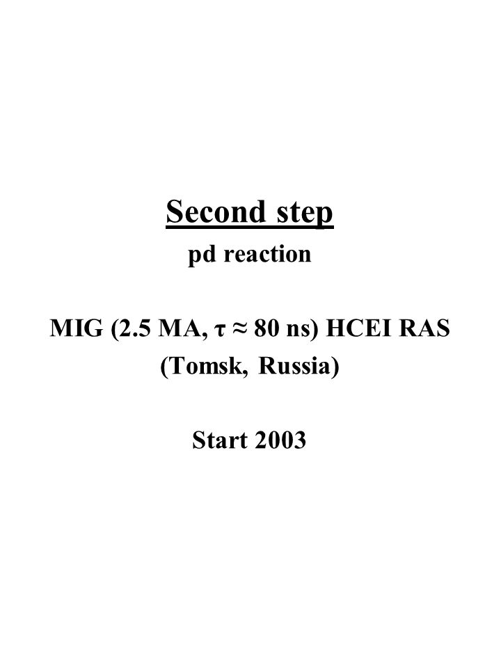 Second step pd reaction MIG (2.5 MA, τ ≈ 80 ns) HCEI RAS (Tomsk, Russia) Start 2003