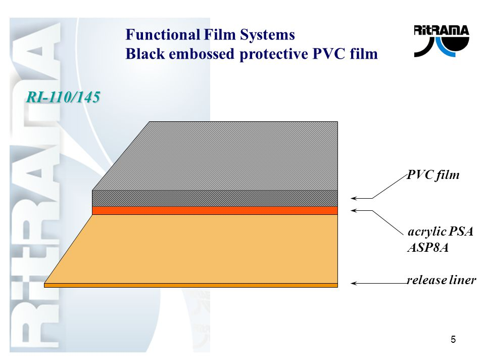5 acrylic PSA ASP8A release liner PVC film RI-110/145 Functional Film Systems Black embossed protective PVC film