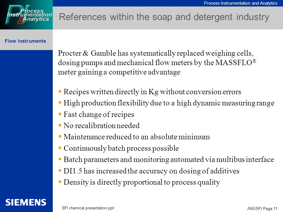 Process Instrumentation and Analytics Flow Instruments SFI chemical presentation.ppt JNG/SFI Page 11 References within the soap and detergent industry Procter & Gamble has systematically replaced weighing cells, dosing pumps and mechanical flow meters by the MASSFLO ® meter gaining a competitive advantage  Recipes written directly in Kg without conversion errors  High production flexibility due to a high dynamic measuring range  Fast change of recipes  No recalibration needed  Maintenance reduced to an absolute minimum  Continuously batch process possible  Batch parameters and monitoring automated via multibus interface  DI1.5 has increased the accuracy on dosing of additives  Density is directly proportional to process quality