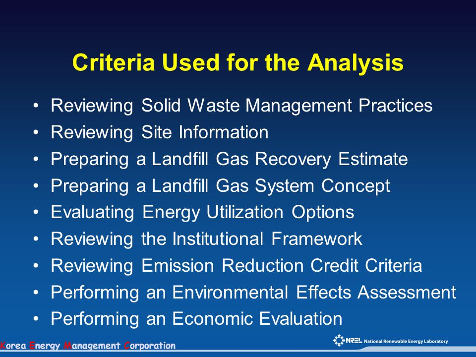 Korea Energy Management Corporation Criteria Used for the Analysis Reviewing Solid Waste Management Practices Reviewing Site Information Preparing a L