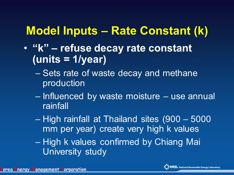 "Korea Energy Management Corporation Model Inputs – Rate Constant (k) ""k"" – refuse decay rate constant (units = 1/year) –Sets rate of waste decay and m"