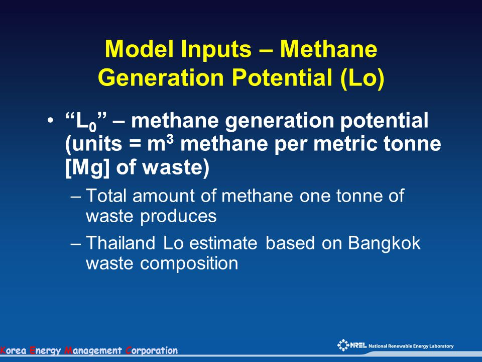 Korea Energy Management Corporation Model Inputs – Methane Generation Potential (Lo) L 0 – methane generation potential (units = m 3 methane per metric tonne [Mg] of waste) –Total amount of methane one tonne of waste produces –Thailand Lo estimate based on Bangkok waste composition