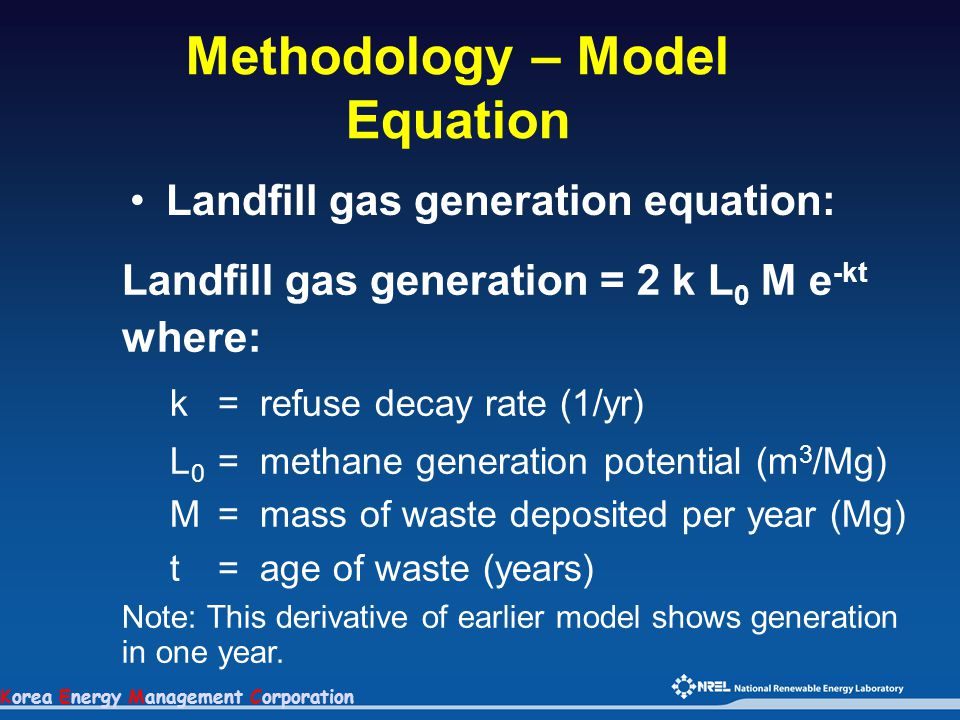 Korea Energy Management Corporation Methodology – Model Equation Landfill gas generation equation: Landfill gas generation = 2 k L 0 M e -kt where: k=