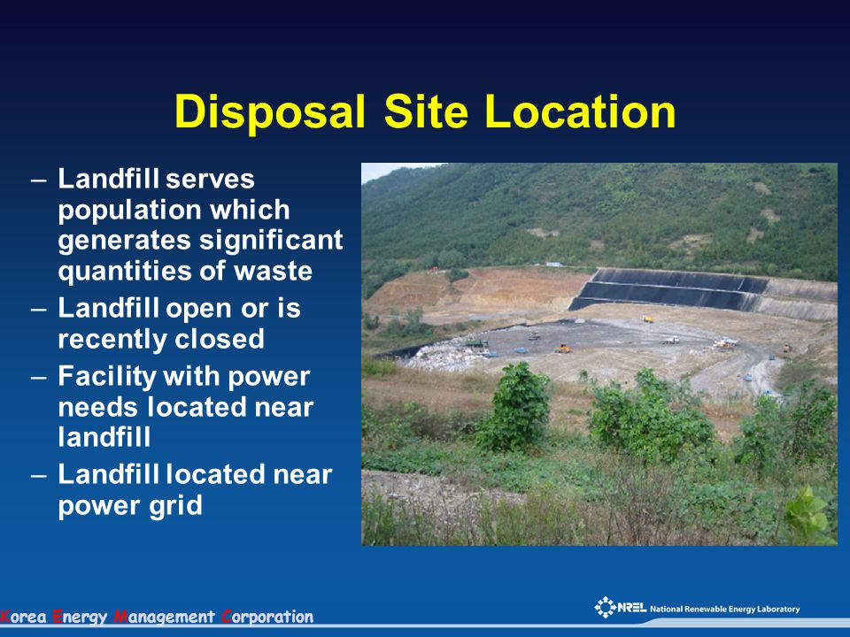 Korea Energy Management Corporation Disposal Site Location –Landfill serves population which generates significant quantities of waste –Landfill open