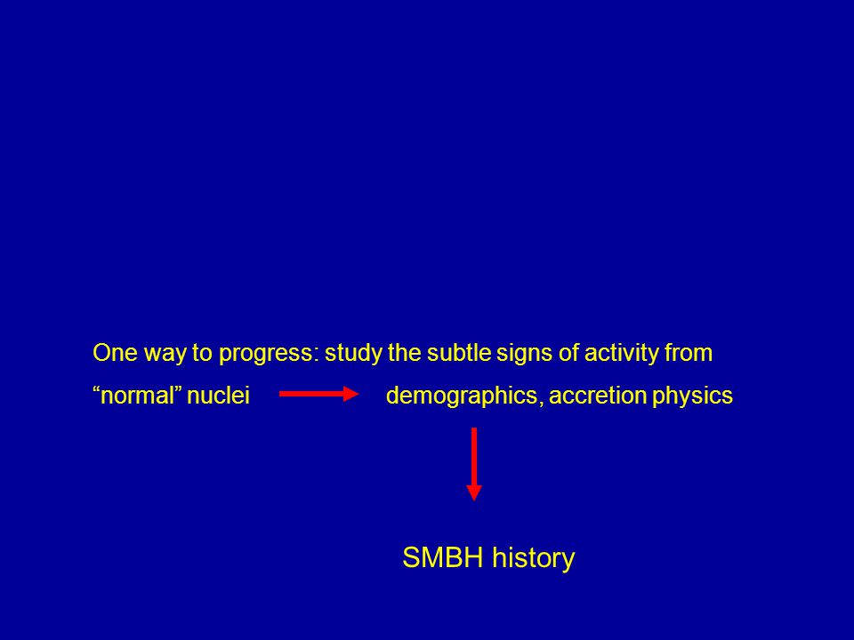 One way to progress: study the subtle signs of activity from normal nuclei demographics, accretion physics SMBH history