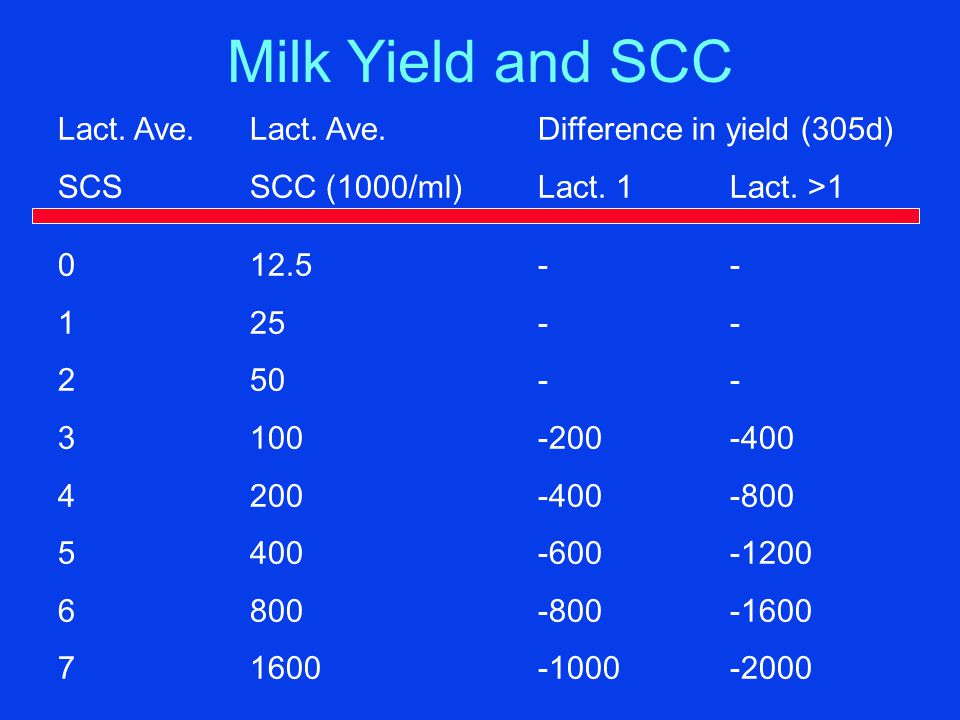 Milk Yield and SCC Lact. Ave.Lact. Ave.Difference in yield (305d) SCSSCC (1000/ml)Lact.